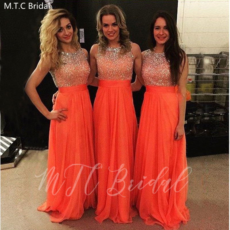 Sparkly Orange Crystals Bridesmaid Dresses With Bow A Line Sleeveless Plus Size Girls Prom Dress Wholesale Wedding Party Gowns