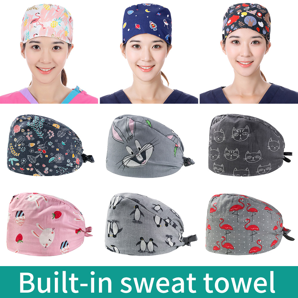Medical Cotton Dentist Hat/caps Surgical Cap Print Pet Hospital Hat Scrubs Medical Caps Women Beauty Salon Nursing Work Hats New