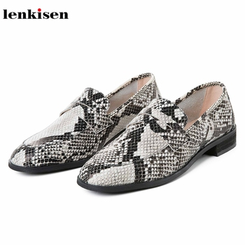 Lenkisen classic basic genuine leather snake loafers shoes round toe slip on beauty lady spring streetwear fashion pumps L01