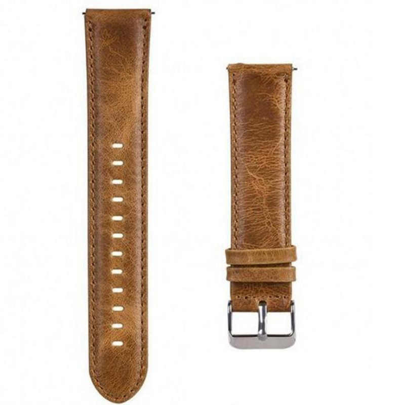 22Mm Leather Adjustable Smart Bracelet Wrist Strap Watch Band Replacement for Samsung Gears3/Huawei Gt/2Pro Light Brown