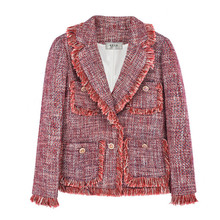 лучшая цена 2019 New Fashion Fringe Tassel Tweed Jacket Women Elegant Runway Wool Blazer Pockets Designer Autumn Winter Woolen Coat Outwear