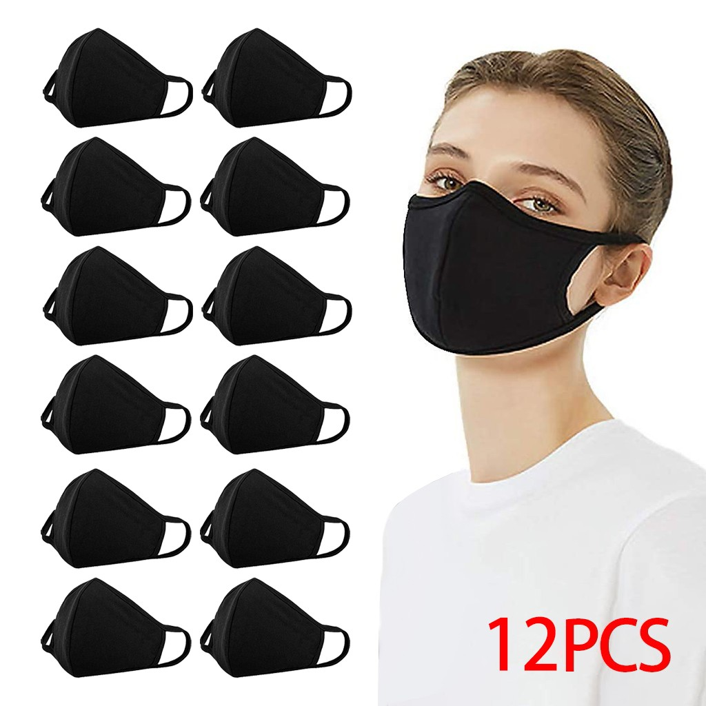 12PCS Reusable Cotton Mouth Face Cover Comfortable Anti-Dust Anti-saliva Anti Infection Anti-droplets Splash-proof Windproof