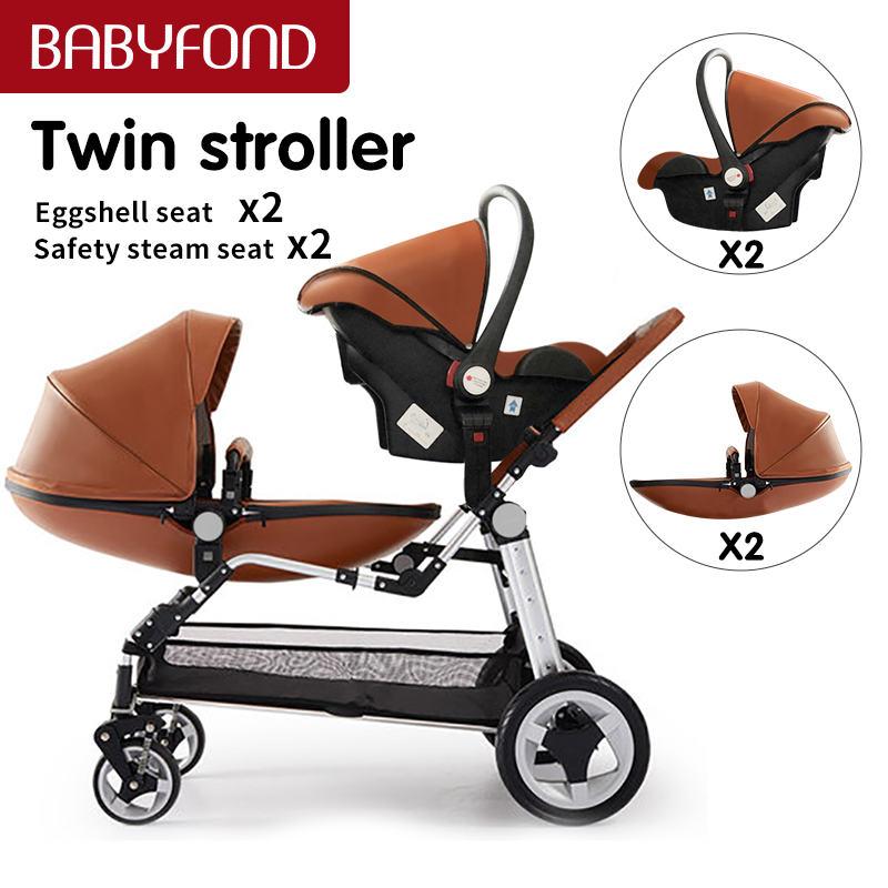 Fast shipping ! Luxury twins stroller aluminum frame leather twin  pram baby can sit and lying with car seat double stroller