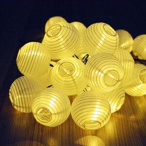 Image 4 - Solar Waterproof Nylon Round Chinese Paper Lanterns Birthday Wedding Decor Gift Craft DIY Lampion Hanging Ball Party Supplies