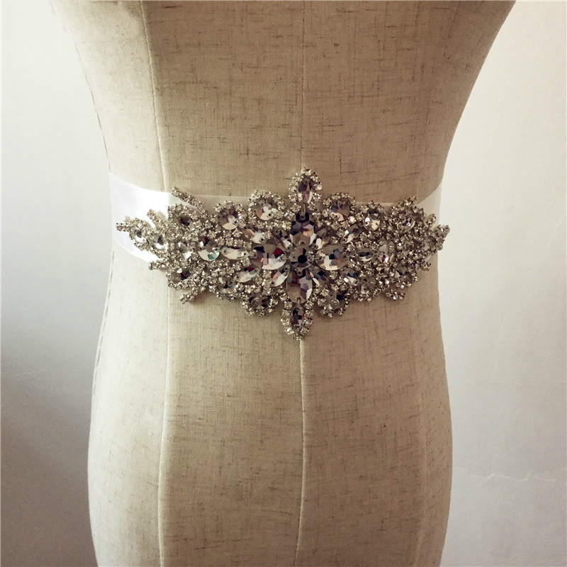 Crystal Wedding Satin Belt Rhinestone Czech Stones Bride Bridal Belt Sashes Wedding Accessories Evening Dress Belt Sashes