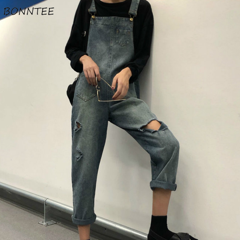 Jumpsuits Women Hole Solid Loose Denim Ankle-length Casual Korean Style Chic Fashion All-match Streetwear Womens Elegant Trendy