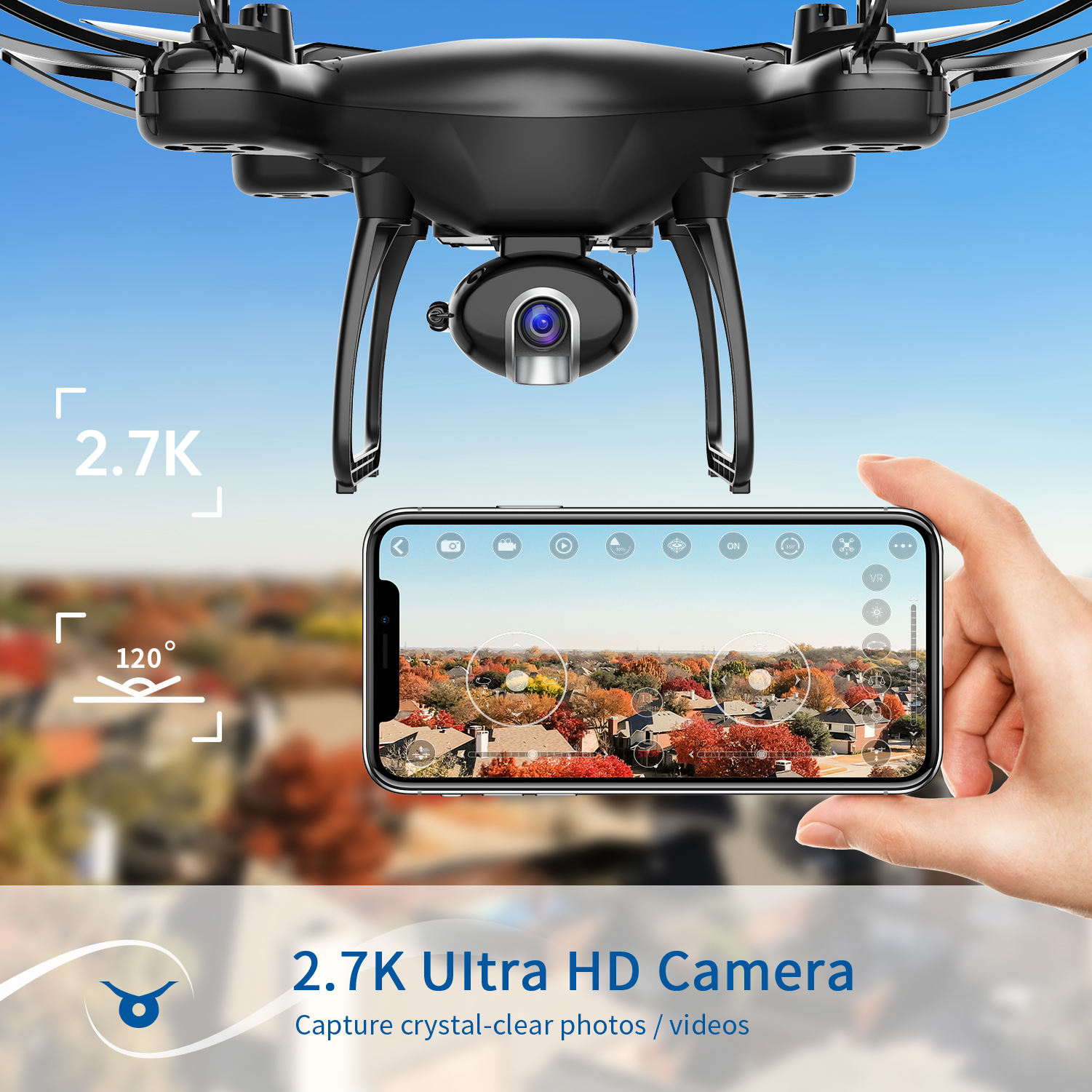 SNAPTAIN SP650 Drone 2-Axis Gimbal Camera 2K HD Video Camera Drone Voice Gesture Control Wide Angle Foldable Quadcopter RC dron 2
