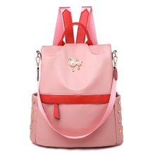 Solid Color Nylon Backpack Wild Middle School Student Cute Princess Style Anti-Theft Travel Bag