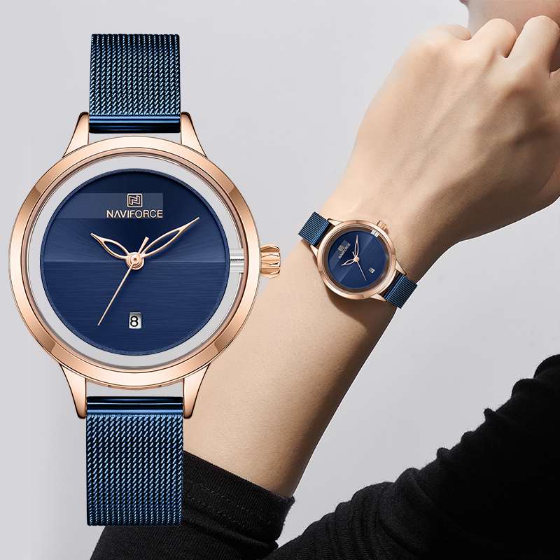 New NAVIFORCE Creative Simple Quartz Watch Women's Steel Mesh Dress Watches Girl Clock Ladies Bracelet Watch Relogios Feminino