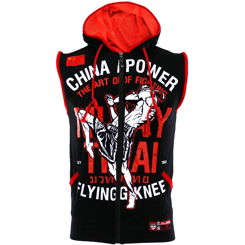 MMA Hoodies Sleeveless Boxing Vest Hooded MMA T-shirt Muay Thai Mma Fight Wrestle Fitness Shirts Male Thai Boxer Sport Clothing
