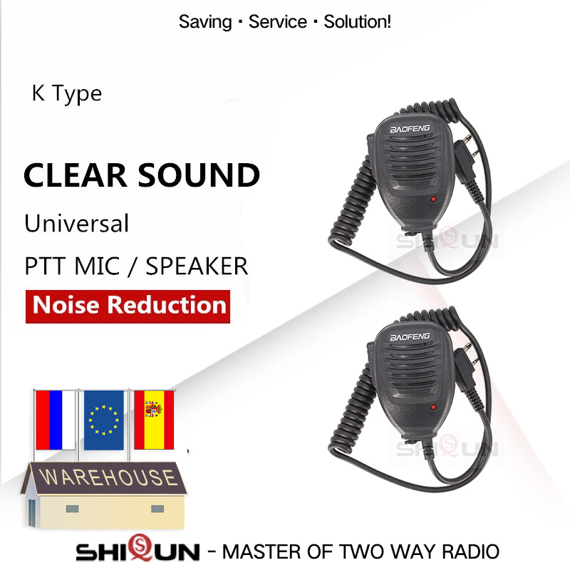 2PCS Original Baofeng UV-5R Microphone Speaker MIC For GT-3 UV-6R BF-888S BF-UVB3 Plus BF-V9 UV-B6 Walkie Talkie Microphone UV82