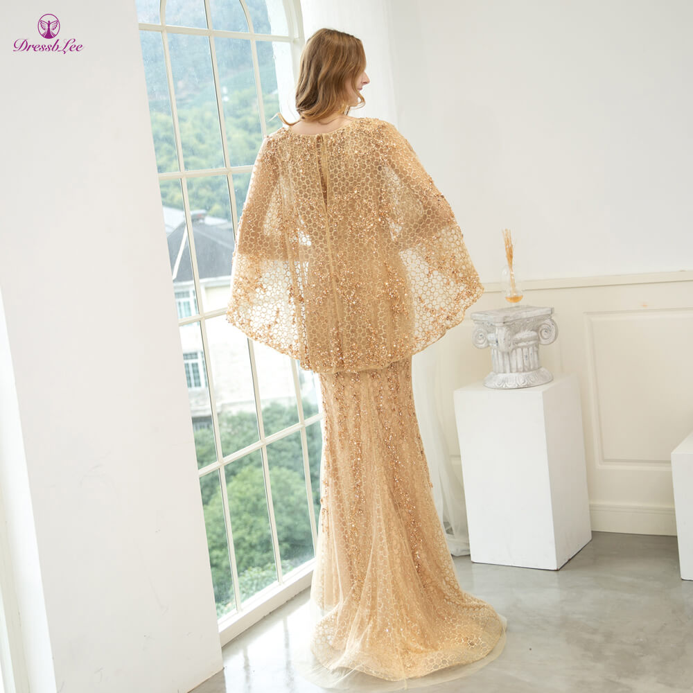 DressbLee New Arrival Mermaid Evening Dress Dubai Style Full Beaded Crystal Evening Dresses Long Sparkly Formal Party Gown