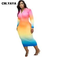 CM.YAYA-vestido de fiesta de manga larga para mujer, vestido Midi ajustado con tinte dibujo degradado y cremallera, Sexy, 2021