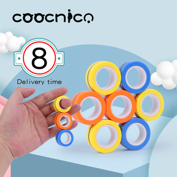FinGears Magnetic Rings Anti-stress Finger Magnetic Fidget Toys FinGear spinner Autism ADHD Anxiety Relief Kids Decompression led light finger spinner aluminum edc hand spinner for autism and adhd anxiety stress relief focus toys gift m2