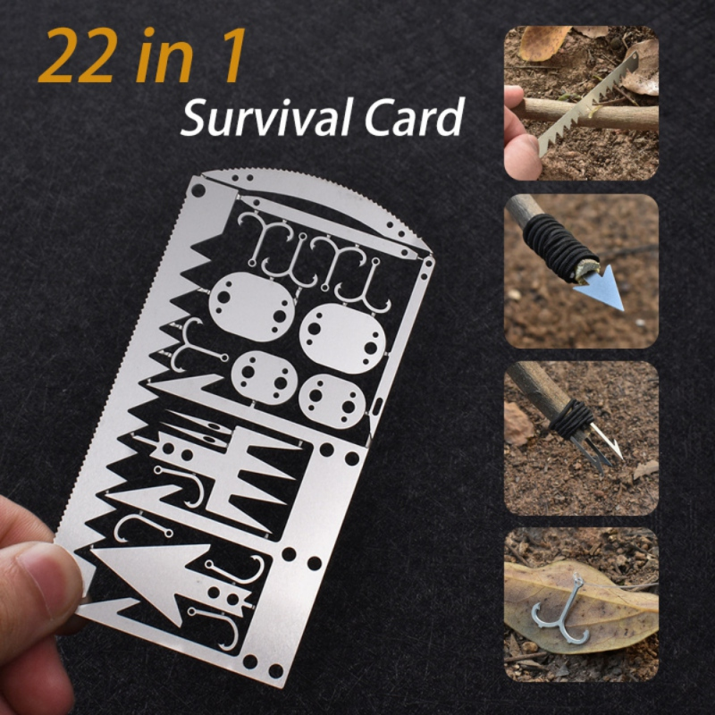 22 In 1 Fishing Gear Hook Card Outdoor Camping Multi-functional Survival Tools Fishing Hunting Survival Gear Kit Emergency Tools