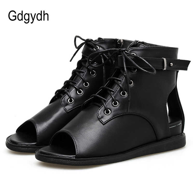Gdgydh Açık Ayak Kadın Botları Deri PU Siyah Sonbahar Yaz Ayakkabı Lace Up Bayanlar rahat ayakkabılar Kama Rahat Toptan