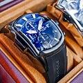 Riff Tiger/RT Große Sport Uhren mit Datum Rubber Strap Stahl Blaues Zifferblatt Herren Uhr Chronograph Wasserdichte Uhren RGA3069-T