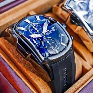 Reef Tiger/RT-relojes deportivos grandes para hombre, con fecha, correa de goma, esfera azul de acero, cronógrafo, resistente al agua, RGA3069-T