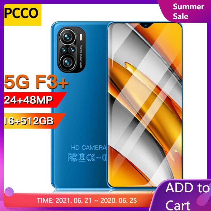 6,7 дюймов F3 + смартфон Android 4G/5G 8 ГБ + 128 ГБ 6000 мАч мобильные телефоны открытые телефонов Celulares глобальная версия сотовый телефон Новый