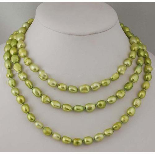 New Arrival Luck Pearl Jewelry Classic Yellow Green Baroque Freshwater Pearl 120CM Long Necklace Charming Women Party Gift