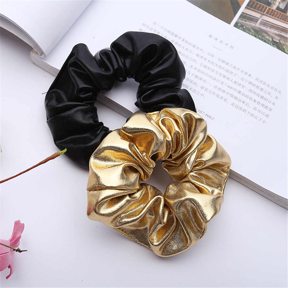 Luxury Scrunchie Brown Genuine Leather Scrunchie Oversized Hair Tie Strong Elastic Real leather Woman accessories Genuine leather