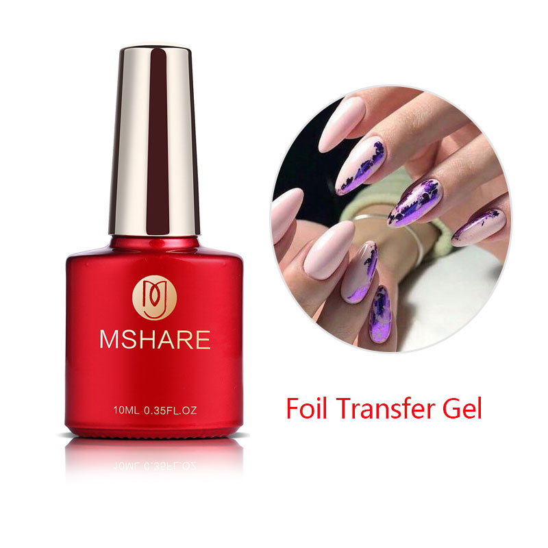 MSHARE Nail Foil Transfer Gel Nails Adhensive Transfering Glue With Free Foil Sticker