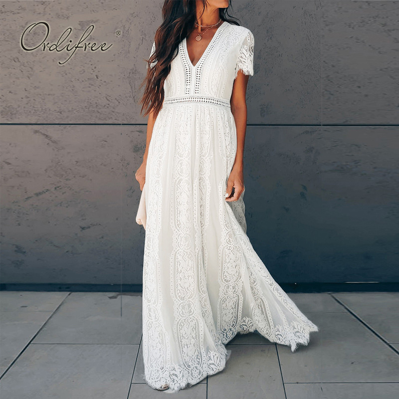 Ordifree 2019 Summer Women Maxi Dress Short Sleeve White Lace Long Beach Dress Vocation Holiday Clothes
