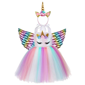 Image 2 - Kids Flower Sequins Tulle Unicorn Dress Cute Lol Unicorn Costume for Girls Birthday Child Christmas Clothes Baby Party Frocks