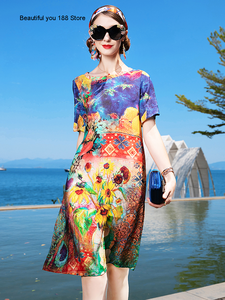 Silk dress women's summer 2020 New Lady elegant floral dress silk oil painting printed skirt