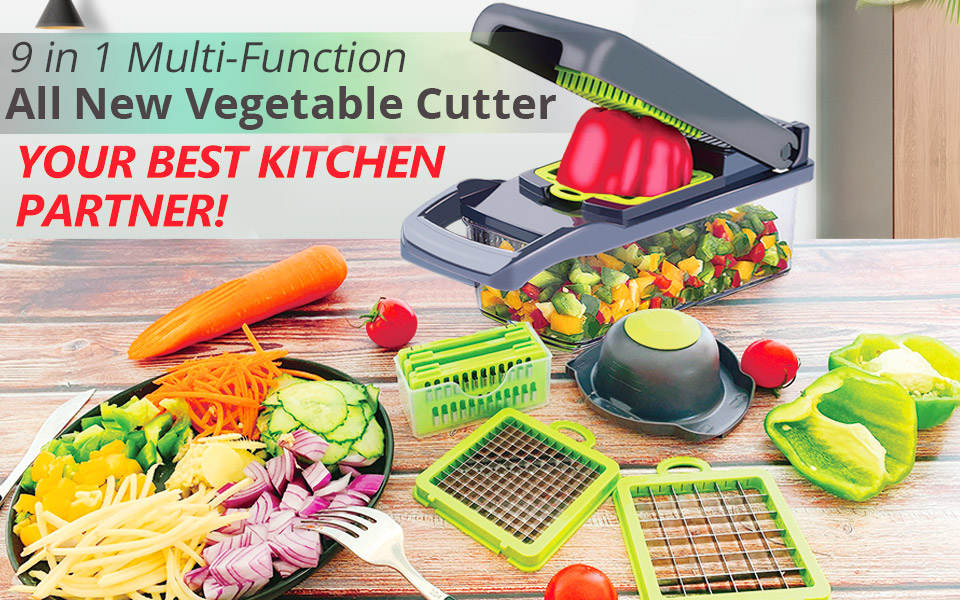 Mandoline Slicer and Vegetable/Fruits Cutter with 7 Dicing Blades as Fruit Peeler and Cheese Grater 1