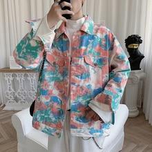 Camo Denim Jacket Men Fashion Tie Dyed Print Casual Hip Hop Denim Jackets Mens Coat Streetwear Loose Bomber Jacket Men M-5XL
