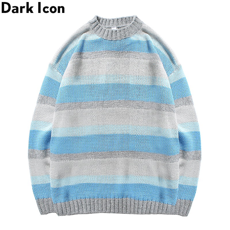Men's Sweaters Clothing Streetwear Autumn Striped Casual Round Dark-Icon