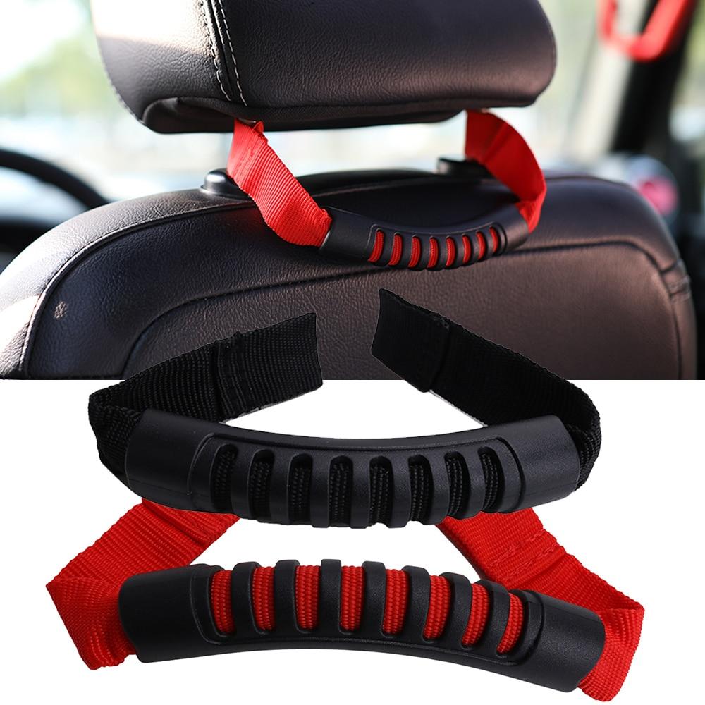 For Jeep Wrangler JK Headrest Grab Handle Car Rear Seat Back Armrest Holder With Hole 2007-2016 Red Black Seat Headrest Grab