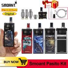 기존 Smoant Pasito pod vape 1100mAh 키트 상단 조정 가능한 기류 제어 3ml 포드 DTL/MTL/RBA 코일 E Cig VS Lost Vape Orion Kit