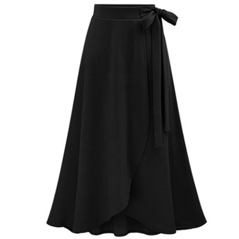 Midi Skirt Irregular Long High-Waist Large-Size New Medium Tie Girl Open-Fork Europe