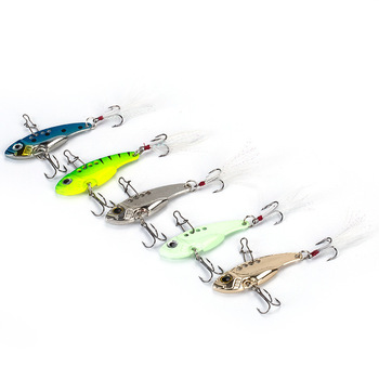Hot Sale 7/9/12g 3D Eyes Metal Vib Blade Lure with Feather Sinking Vibration Baits Artificial Vibe for Bass Pike Perch Fishing
