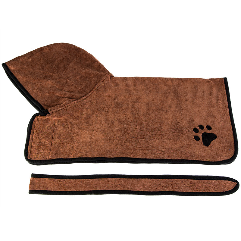 Pet Dog Cat Bathrobe Soft Quickly Absorbing Water Fiber Pet Drying Towel Robe With Hat Pupuy Cat Pet Grooming Supplies 7