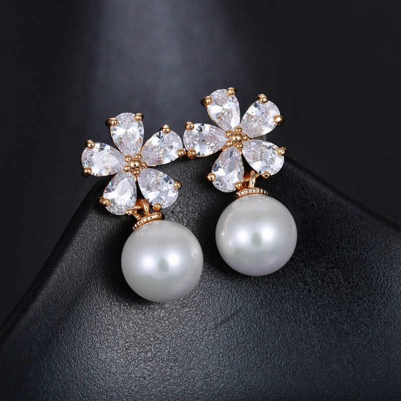 אופנה נקבה קריסטל פרח Stud עגילים חמוד לבן אדום פרל עגילי Boho כסף זהב זירקון עגילים לנשים