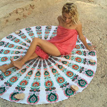 Newest Arrival Mandala Tapestry Beach Towel Sunblock Round Bikini Cover-Up Blanket Bohemian Yoga Mat(China)
