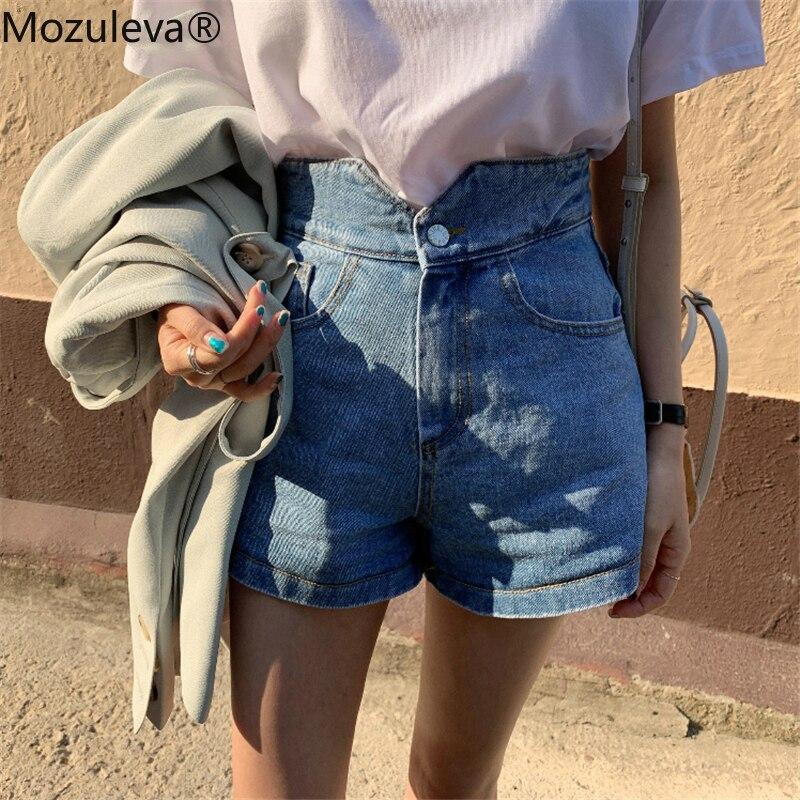 Mozuleva Vintage High Waist Women Denim Shorts Button Up Loose Denim Blue 2020 Streetwear Summer Female Jeans Shorts Biker Short