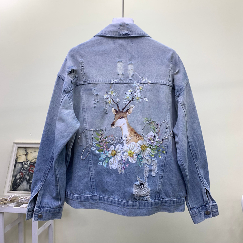 2019 autumn new beaded print sequins deer embroidered loose hole denim   jacket   women   basic   jean coat 2076