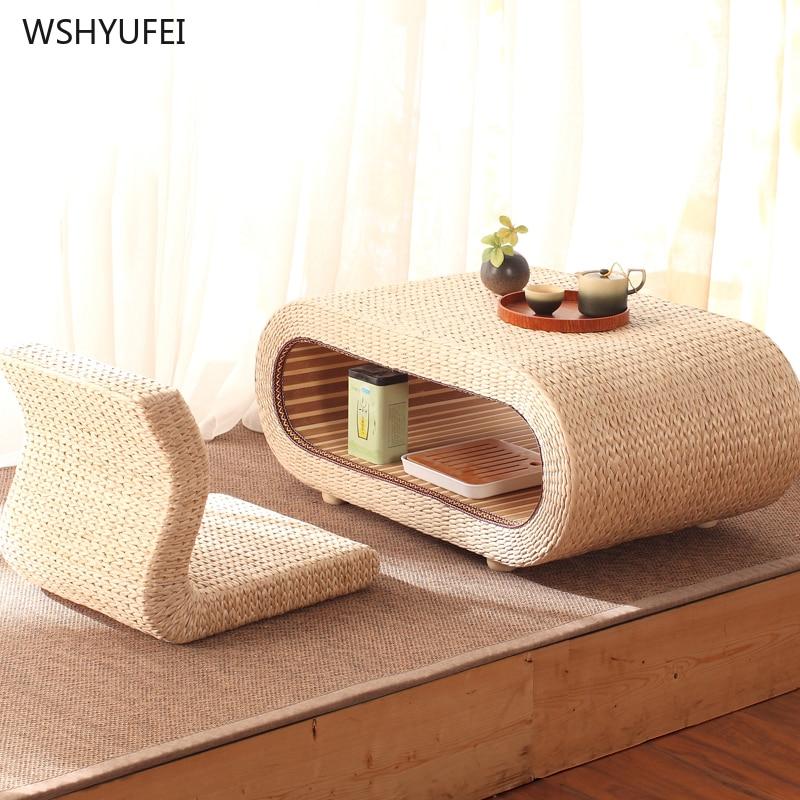 Idyllic Table Tatami Coffee Table Table Bay Window Table Small Coffee Table Balcony Home Zen Low Table Stool Grass Weaving