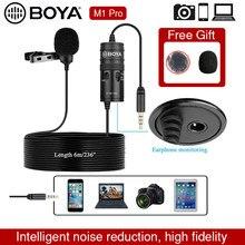 Microfone boya por m1 pro 6m clip-on lavalier mini áudio 3.5mm colar condensador lapela mic para smartphone dslr filmadora de áudio
