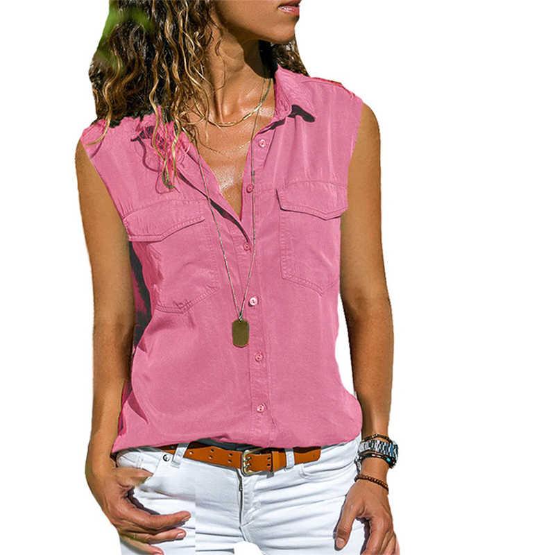 Блузка, рубашка размера плюс 8XL, женская летняя рубашка без рукавов с карманами, женские рубашки, одноцветная блузка с отложным воротником, модная женская одежда 2019