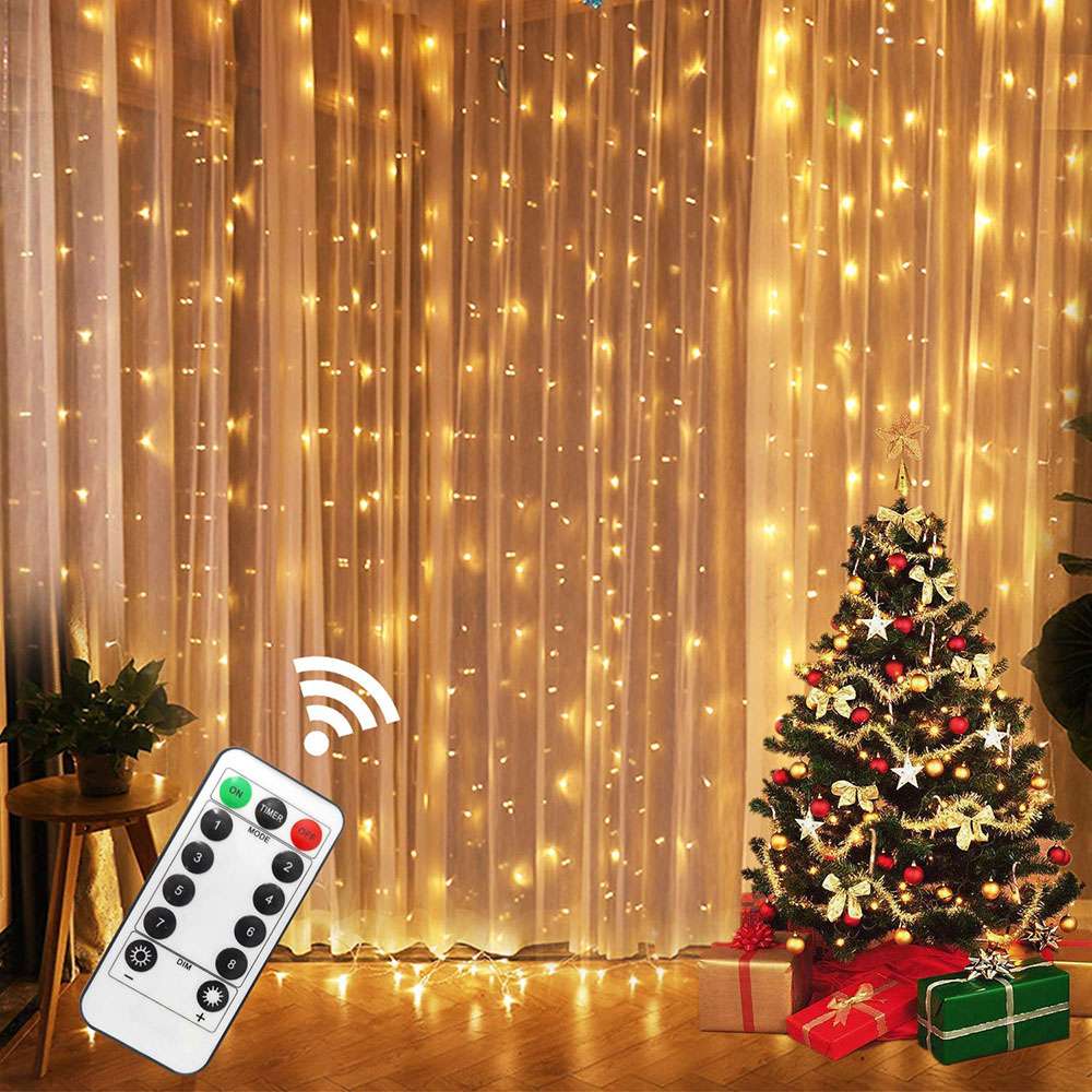 USB Powered 3x1M/3x2M/3x3M LED Copper Wire String Window Curtain Lights Waterproof Outdoor Christmas Party Wedding Garland Light