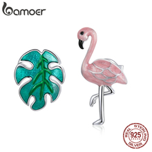 Stud Earring Flamingo Silver Bamoer 100%925-Sterling-Silver Fashion Jewelry And for Girl