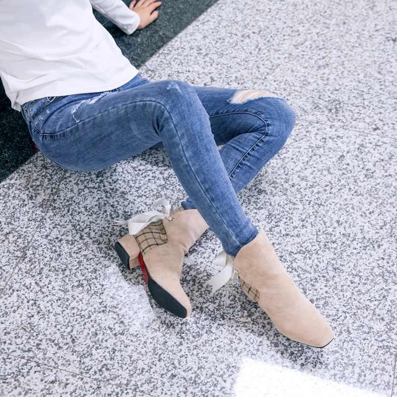 Egonnerie mode chaussures pour femmes hiver automne rayé motif à carreaux abkle bottes beige noir ruban 32-45 grande taille chaussons