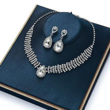 Qualities Wedding Choker Necklace Set Women Bridal Jewelry Sets Jewellery Crystal Rhinestone Silver-Color Drop Pendant Earring(China)