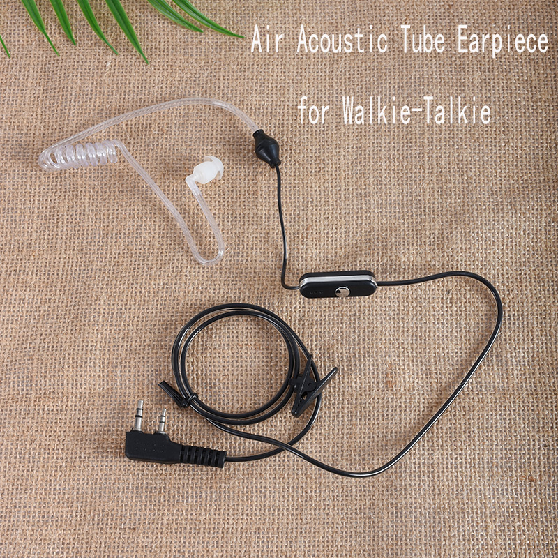 2 PCS Air Acoustic Tube Earpiece ( 2-Pin K Plug ) PTT MIC Speaker Earphone Walkie Talkie Radio Headset For Kenwood/Baofeng 888S