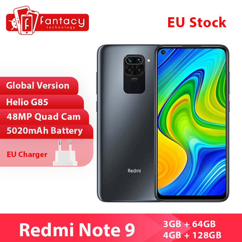 Глобальная версия Xiaomi Redmi Note 9 смартфон NFC 64 Гб 128 Helio G85 6,53 48MP AI Quad камера Note9 мобильные телефоны 5020 мАч